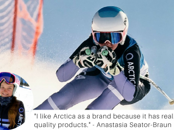 Image of Anastasia Seator-Braun ski racing at Mammoth with a quote about why she loves Arctica products.